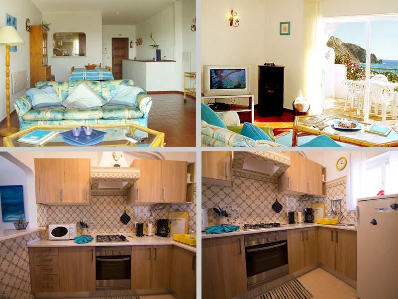 Casa BLW, Portugees Vakantie huisje, Compositie Woonkamer en Keuken in Praia da Luz, Algarve Portugal