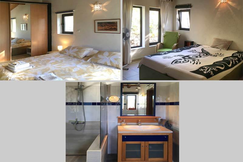 Casinha APP,vrijstaand vakantiehuis, Compositie Slaapkamers en Badkamers in Odiáxere Lagos, Algarve Portugal