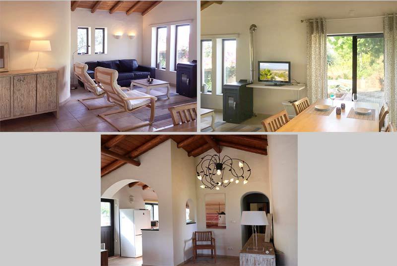 Casinha APP, vrijstaand vakantiehuis, woonkamer en keuken in Odiáxere Lagos, Algarve Portugal