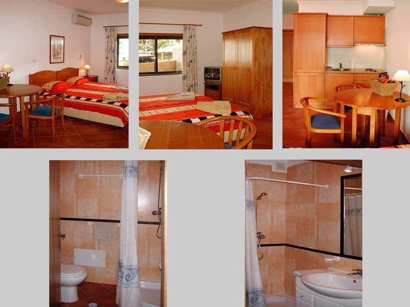 Studio QRD Compositie van de kamer, badkamer en de  kitchenette in Lagos, Algarve Portugal